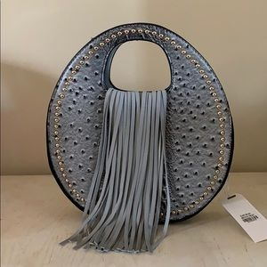 Gray Vegan Round Fringe Bag